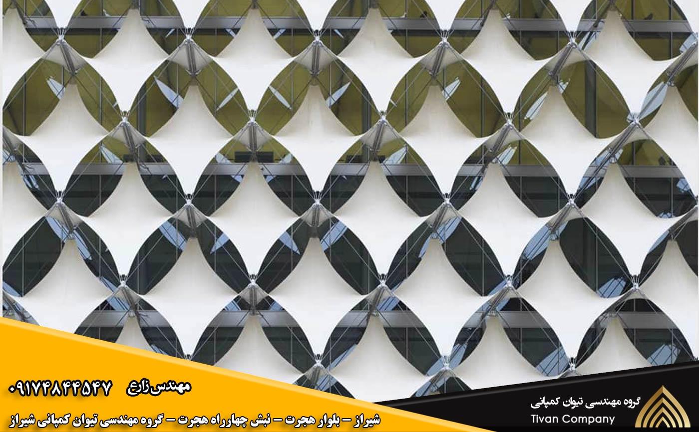 سازه پارچه ای کششی نمای ساختمان