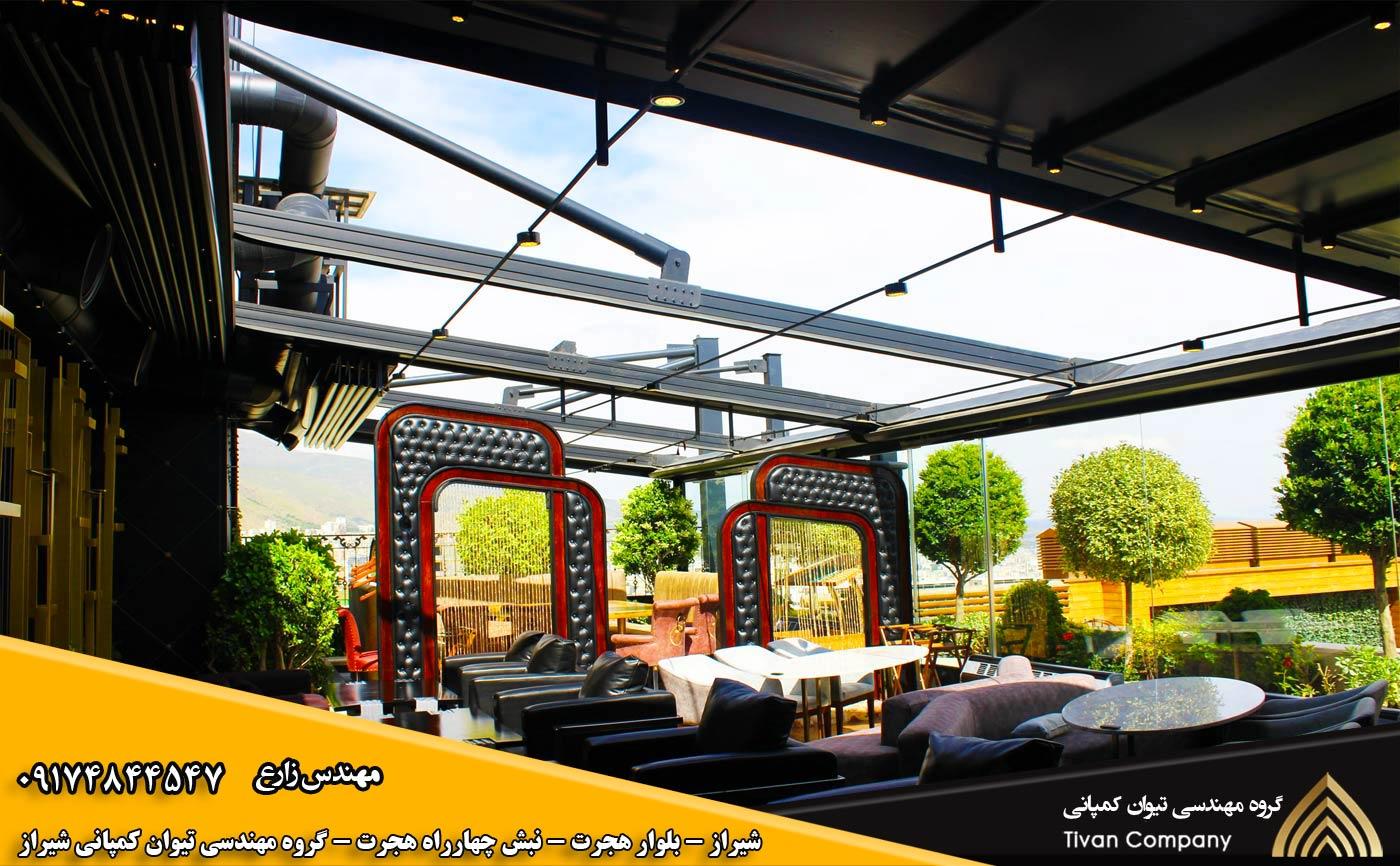 سازه های کششی متحرک | سایبان پارچه ای غشایی متحرک برقی در شیراز