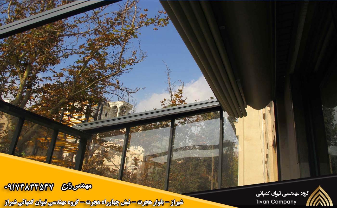 سازه های کششی متحرک | سایبان پارچه ای متحرک برقی در شیراز